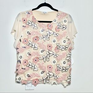 NWT Cocobleu Boutique Embroidered Floral Blouse